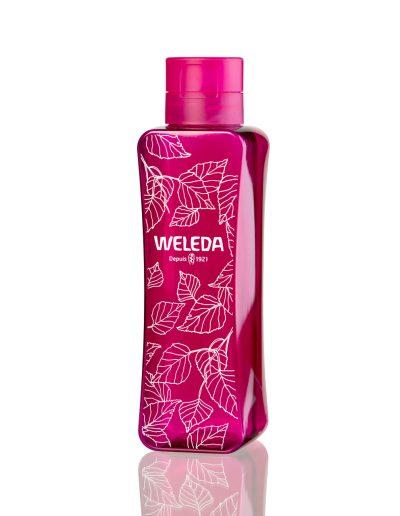 bouteille nomade rose en PET 100% recyclé fait pour Weleda