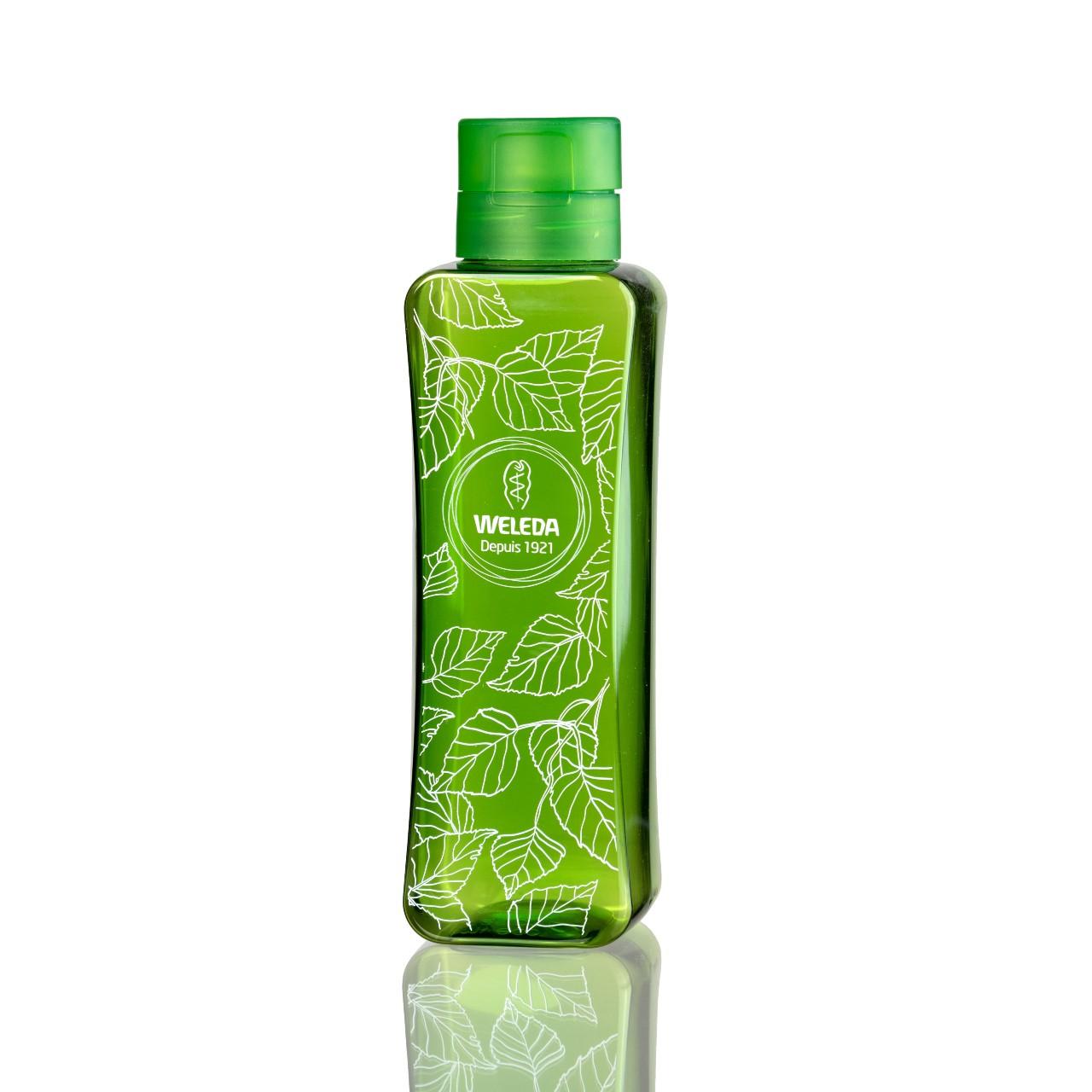 bouteille nomade verte en PET 100% recyclé fait pour Weleda